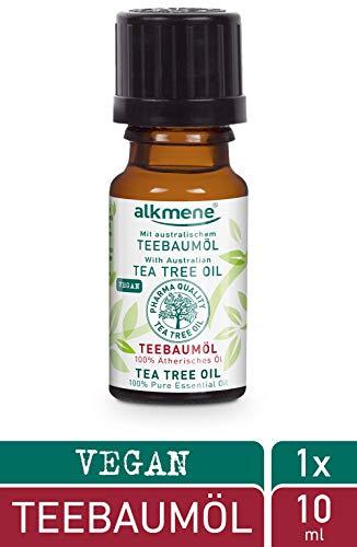 alkmene 100% reines ätherisches Teebaumöl - veganes Teebaum Öl ohne Silikone, Parabene & Mineralöl - australisches Teebaumoel ideal für Haut & Haar - Tea Tree Oil (1x 10 ml)