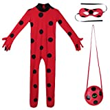 Freebily Déguisement Enfant Fille Carnaval Halloween Cosplay Costume Ladybug Coccinelle Body Combinaison à Pois & Masque & Sac Set Rouge Bodysuit Tenus 5-12 Ans Rouge 5-6 Ans