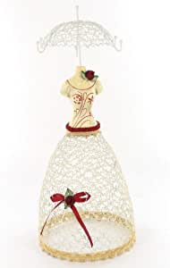 Porte bijoux manequin parapluie rouge et blanc