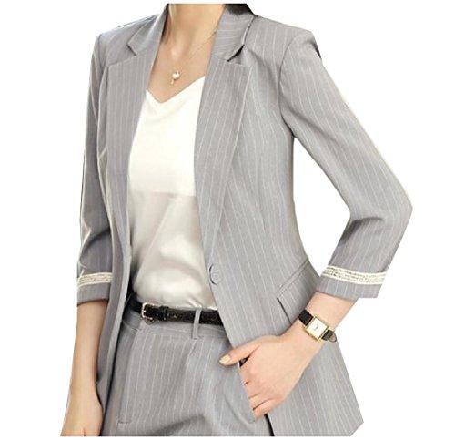 CuteRose Women Notch Lapel Patch Blazer Stripes 3/4 Sleeve Welt Jacket Grey XS - Sleeve Boyfriend Blazer