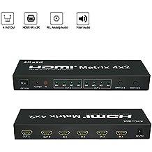 Befen HDMI Matrix Splitter / Interruptor HDMI | 4 en 2 con SPDIF (Toslink) y salida de audio de 3,5 mm | Selector de HDMI / caja convertidor con control remoto IR y adaptador de corriente - Soporte Ultra HD 4K x 2K / MHL / 3D / 1080p / ARC