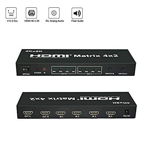 Belfen HDMI Matrix Splitter/HDMI Switch | 4 in 2 out with SPDIF(Toslink) & 3.5mm Audio Output | HDMI Selector/Converter Box with IR Remote and Power Adapter- Support Ultra HD 4K x