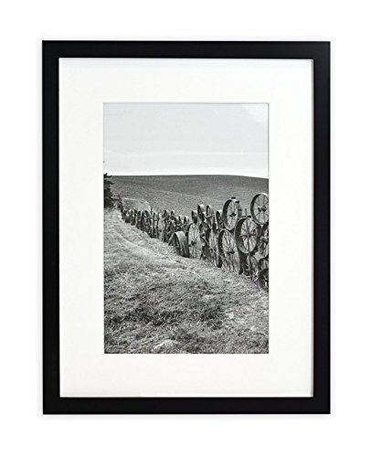 Golden State Art, Wandbild Bilderrahmen Collection, 12x 16Foto Holz Rahmen mit Weiß Matte & Echtglas für 8x 12Bild, Schwarz (Bild-rahmen Mit Matte)