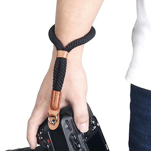 Kamera Handschlaufe, Sugelary Kamera Gurt Baumwoll Handgelenk-schlaufe Trageschlaufe für Systemkamera Canon Sony Nikon DSLR SLR (Schwarz)