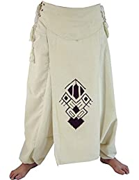 Guru-Shop Afghani Hose, Unisex Pluderhose mit Lagenrock, Goa Hosen Set, Aladinhose, Herren, Baumwolle, Männerhosen Alternative Bekleidung