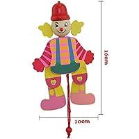 Tfxwerws Creative enfants jouet Bras jambes Go Up et Down en bois Clown Corde de traction jouet–-random Couleur