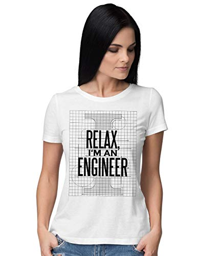 Relax I'm Engineer Blueprint Slogan Damen T-Shirt (Engine Shirt Tank Thomas)