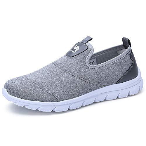 CAMEL CROWN Herren Slip On Schuhe Casual Klassische Espadrilles Flach Boot Loafers Leichte Trainer für Gehen Daily Business Urlaub,Blau/Grau (41 EU, Grau) -