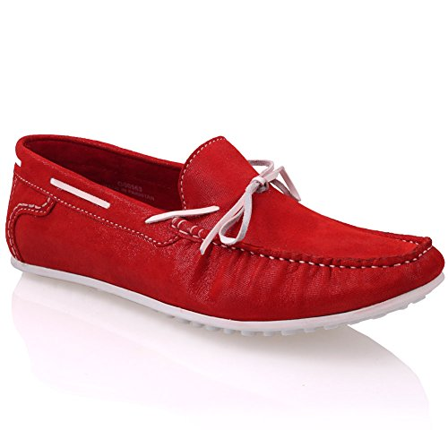 Unze Cuir Mocassins Chaussures Hommes Grisby ' Rouge