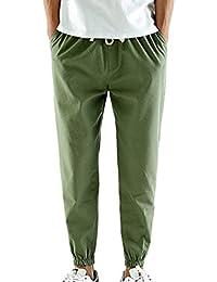 Junkai Verano Hombre Pantalones de Lino Sueltos Color Puro Pantalón de Playa con Bolsillos Laterales Cordón Pantalones Hombres 3/4…