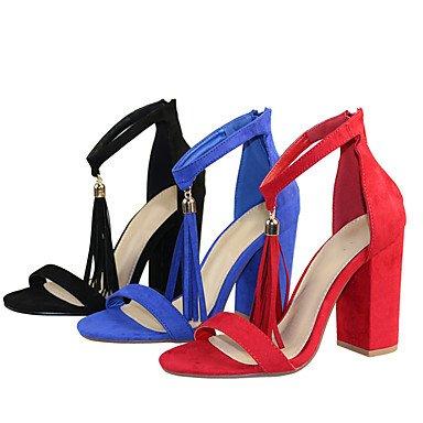 LvYuan Da donna-Sandali-Formale Casual Serata e festa-Altro-Quadrato-Tessuto-Nero Blu Rosso Blue