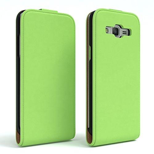 Samsung Galaxy Grand Prime Hülle - EAZY CASE Premium Flip Case Handyhülle - Schutzhülle aus Leder zum Aufklappen in Anthrazit Grün