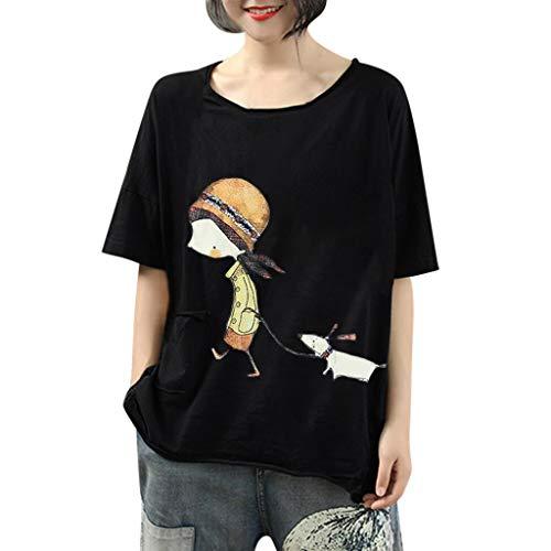 CUTUDE Damen T Shirt, Bluse Kurzarm Sommer Frauen BeiläUfige Lose Print Pocket Tunika Weste Oberteil Top Mode 2019 (Schwarz,Medium)