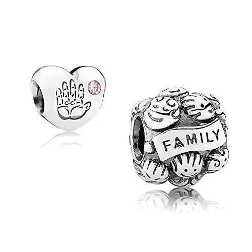 chenkset - 1 Silber Element Familienliebe 791039 und 1 Silber Element Baby Mädchen mit rosafarbenem Zirkonia 791280PCZ (Ostern Elemente)