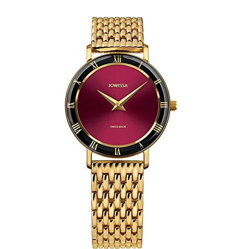 Jowissa Roma Swiss J2.291.M - Reloj de Pulsera para Mujer, Color Burdeos y Dorado