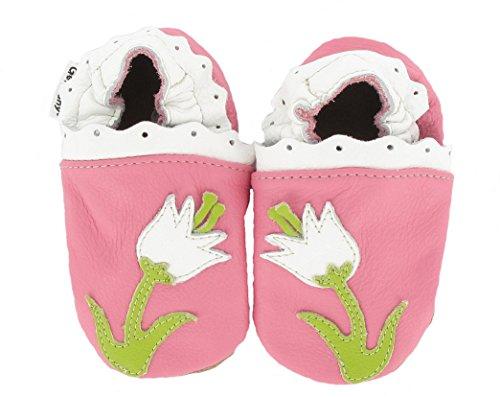 HOBEA Unisex Babys Princess Krabbelschuhe Blume Pink