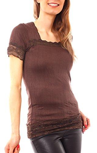 Damen Lingerie Kurzarm T-Shirt lang Longshirt mit Spitze Schoko