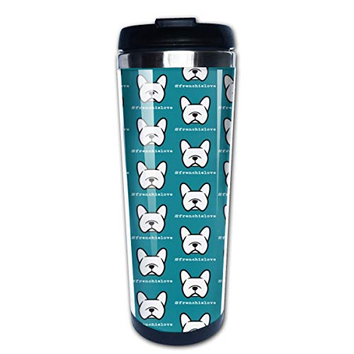 frenchielove French Bulldog With Cute Dogfaces Multi Insulated Stainless Steel Travel Mug 14 oz Classic Lowball Tumbler with Flip Lid