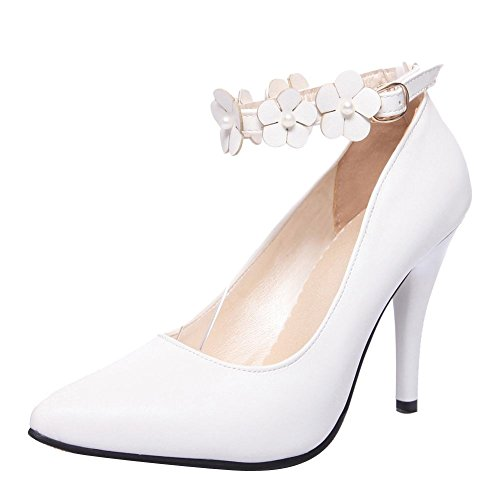 MissSaSa Donna Sottile col Tacco Alto Dolce e Elegante Bianco