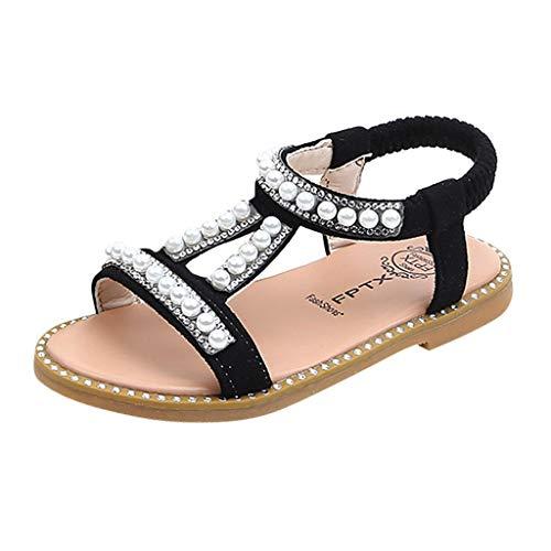 MISSWongg Mädchen Schuhe Baby Lauflernschuhe Pearl Crystal Single Princess Sandalen römische Schuhe Baby Schuhe Größe 21-30 (Schuhe Schwarz Mädchen Die Neugeborenen)