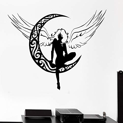 hetingyue Beautiful Fairy Wall Decal Living Room Child Girl Woman Angel Crescent Art Mural Vinyl Sticker 93x75cm