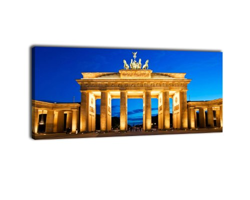 Leinwandbild Panorama Nr. 119 Brandenburger Tor 100x40cm, Bild auf Leinwand, Berlin, Mauer, Deutschland