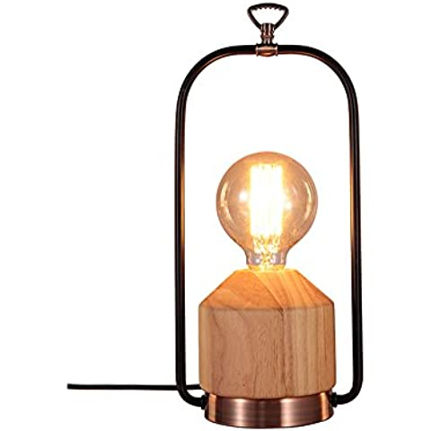 Lámpara de mesa de madera y metal, decoración de latón envejecido, lámpara portátil en el estilo vintage, candil de mesa en el estilo industrial - Ø17, cable de color negro, zócalo E27