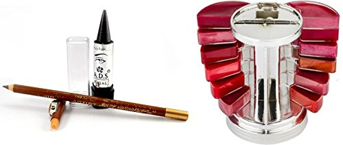 adbeni Ladyhood Lipgloss Palette and Ads Lipliner and Eyeliner(Goodchoice-cos-1086, Multicolour)