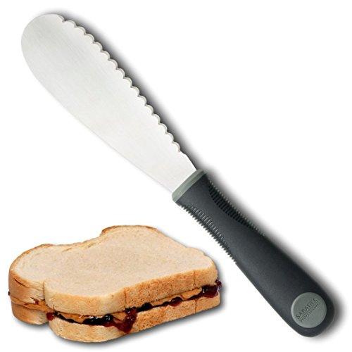 Sabatier Professional Sandwichmesser / Gewürzstreuer - Edelstahl, breite Kante, überbackene Klinge. Küchengerät für Butter / Sahne / Käse. Bequemer weicher Griff