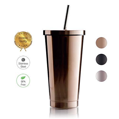 BOHORIA® Premium Edelstahl Kaffee-to-Go-Becher - Isolierbecher - Thermo-Becher - Doppelwandig & Vakuumisoliert - 500 ml - Autobecher Travel Mug (Tumbler Bronze) -
