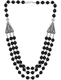 Aradhya High Quality Black Beads Black Sterling-Silver Chain Necklace For Women
