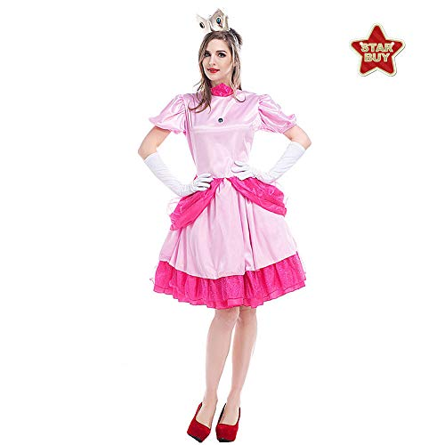 Prinzessin Peach Kleinkind Kostüm - COSOER Super Mario Princess Peach Bühnenkostüm Party Queen Kleidung Für Halloween Female Wear,Pink-M