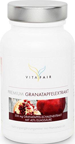 Premium Granatapfel-Extrakt 500mg   Hochdosiert mit 40% Ellagsäure   120 Kapseln   vegan   ohne Magnesiumsteara   Made in Germany