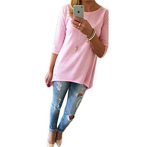 RETUROM Mujeres jersey suelto Tops Camiseta Tres cuartos de la blusa Verano de las mujeres atractivas del chaleco Top de manga corta blusa de tapas del tanque ocasionales de la camiseta de encaje (XL, Rosa)