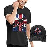 Photo de Thimd Hommes T-Shirts à Manches Courtes et Casquettes de Baseball,Jake Bugg Tshirt and Washed Denim Baseball Dad Hat Black par Thimd