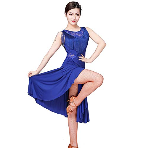 WEISY Frauen-Ballett-Tanz-Kostüm-Trikotanzug, Spitze-Latein-Tanz-Kleid-Salsa-Quasten-Tänzer-Kostüm-Ausstattung