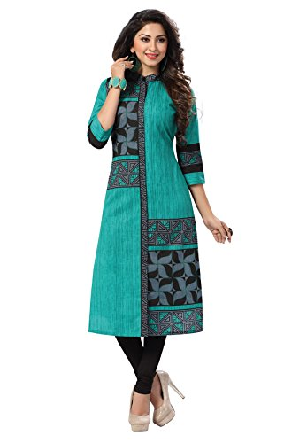 Salwar Studio Women\'s Green & Black Cotton Floral Printed Unstitched Kurti Fabric (only Kurti Fabric)
