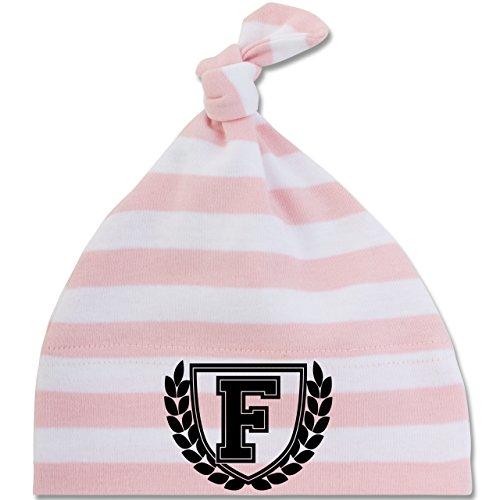 Anfangsbuchstaben Baby - F Collegestyle - Unisize - Babyrosa/Weiß - BZ15S - gestreifte Baby Mütze mit Knoten / Bommel für Jungen und Mädchen