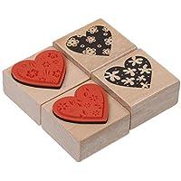 Ogquaton Vintage Diy Sello de madera en forma de corazón Patrón de flor Sello de madera Sello para uso en la oficina doméstica 4 piezas