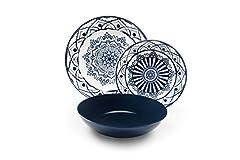Idea Regalo - Excelsa Boheme Blue Servizio di Piatti 18 Pezzi, Porcellana e Ceramica, Blu