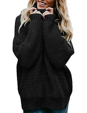 JYC-Suéter para Mujer,Mujeres de Manga Larga de Punto Jersey,Mujer Largo Manga Suelto Cuello Alto De puntoSuéter...