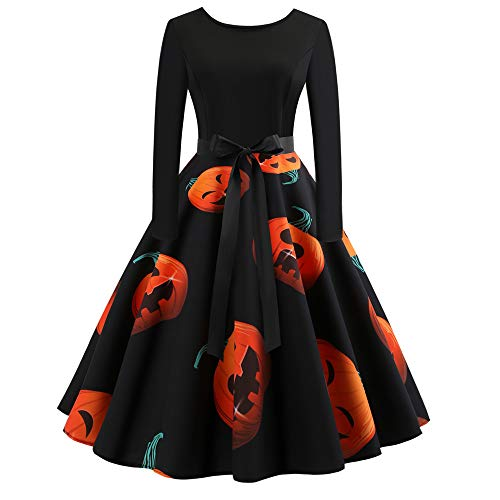 Calvinbi Elegante Kleider Vintage Kleid Schwarz V Ausschnitt Damen mit Kürbis Knielang Vintage 3/4 Arm Langarm Abend Prom Swing Dress Soft und Stretch fur Halloween Party Ball Karneval Kostüm