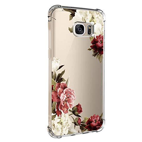 Pacyer kompatibel mit Galaxy S7 / S7 Edge Hülle Silikon cover Bumper [Ultra Dünn] Stoßfest Marmor grau hellblau TPU Schutzhülle Anti-Scratch Anti-Rutsch Handyhülle (Blumen 3, Galaxy S7 Edge)