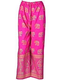 DIAMO Indian Ethnic Cotton Designer Block Gold Print Casual Wear Palazzo Pant For Women's - Block Print ( Free...