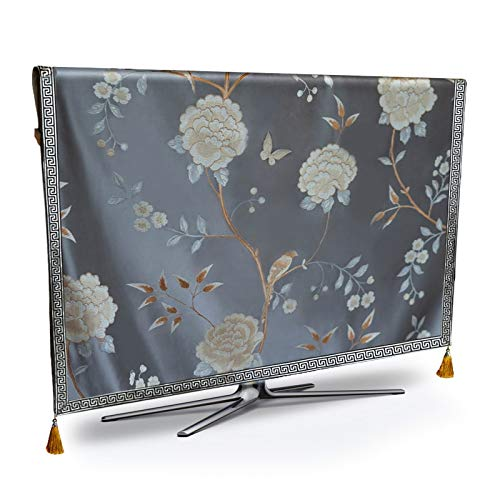 Kontakt Cover (STARKWALL Tv Dust Cover Luxury Flower Weatherproof Dust-Proof Protect LCD Led Plasma Television Tissue Table Runner Cloth Cushion Cover Maßgeschneiderter Kontakt grau)