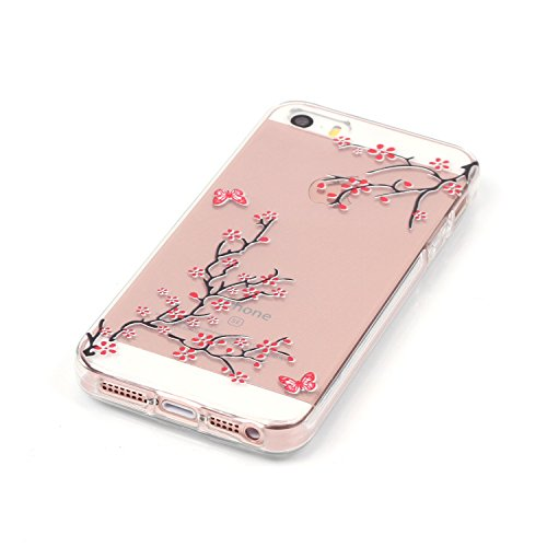 Meet de Téléphone Case pour Apple iphone 5S / iphone SE, Apple iphone 5S / iphone SE Bumper Case, Apple iPhone 5S / iphone SE Slim TPU Transparent Silicone - Papillon unique prunier