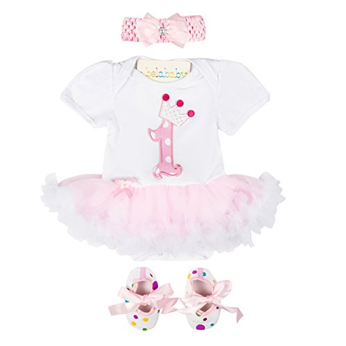 belababy Baby Girl Romper Suit 1st Birthday Party Tutu Dresses Sets Shoes with Headband Outfits