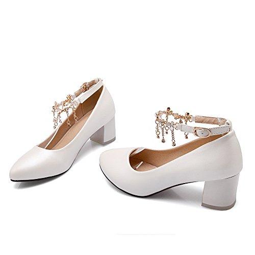 VogueZone009 Femme Boucle Fermeture D'Orteil Pointu à Talon Correct Pu Cuir Couleur Unie Chaussures Légeres Blanc
