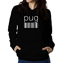 Sudadera con capucha de mujer Pug barcode