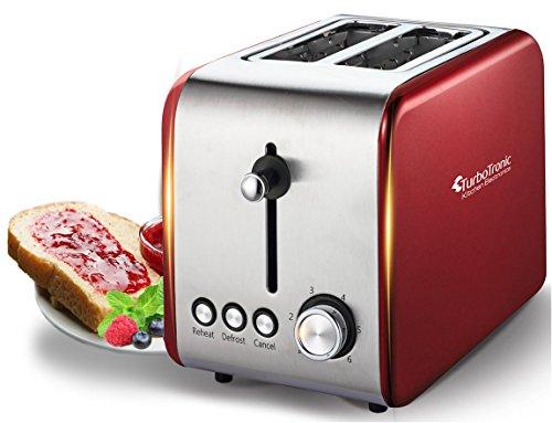 2 Scheiben Retro Toaster mit Brötchenaufsatz Vintage Design Edelstahl 850 Watt inklusive Krümelblech Rot